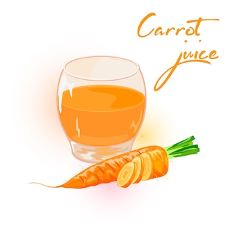 Orange carrots, whole and cutted to disks are near glass of juice
