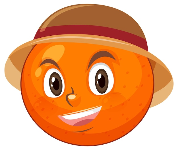 Orange cartoon character with facial expression