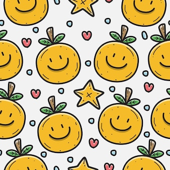 Orange cartoon doodle pattern