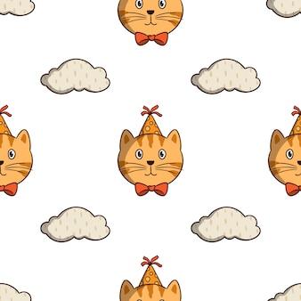 白い背景の上の色の落書きスタイルでシームレスなパターンの雲要素とオレンジ色の猫の誕生日パーティー