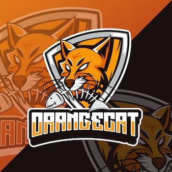 Оранжевый кот киберспорт талисман дизайн логотипа