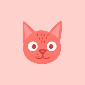 Orange cat head face with big eyes. cute cartoon