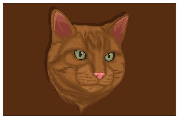 濃いオレンジ色の背景に頭だけを真剣に見ているオレンジ色の猫のイラスト
