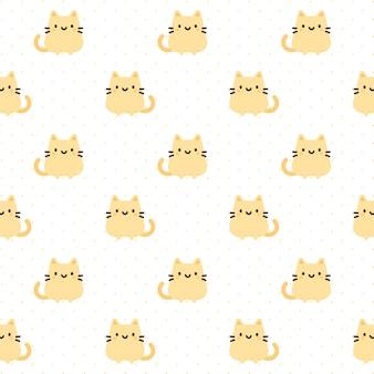 オレンジ猫のシームレスなパターンの背景