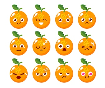 Orange character design in various emotions.