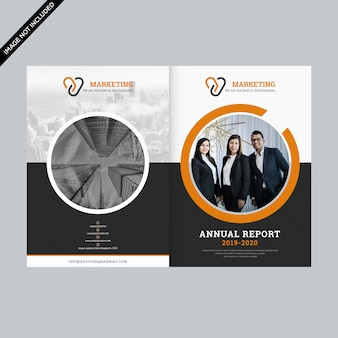 Orange circle business brochure layout template