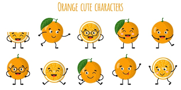 Orange citrus fruit cute funny cheerful characters with different poses and emotions. natural vitamin antioxidant detox food collection.   cartoon isolated illustration.