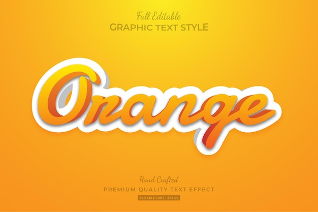 Оранжевый чистый современный редактируемый текстовый эффект стиля шрифта