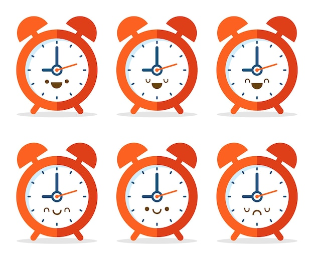 Оранжевые часы мультфильм каваи, изолированные на белом