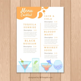 Orange cocktail menu template