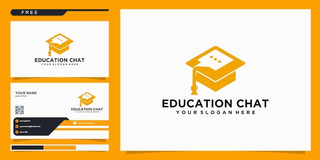 Оранжевый колледж, выпускник, дизайн логотипа образования. и логотипы чатов. визитная карточка