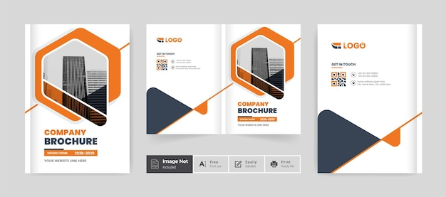 Orange color business brochure design cover template company profile annual report cover page