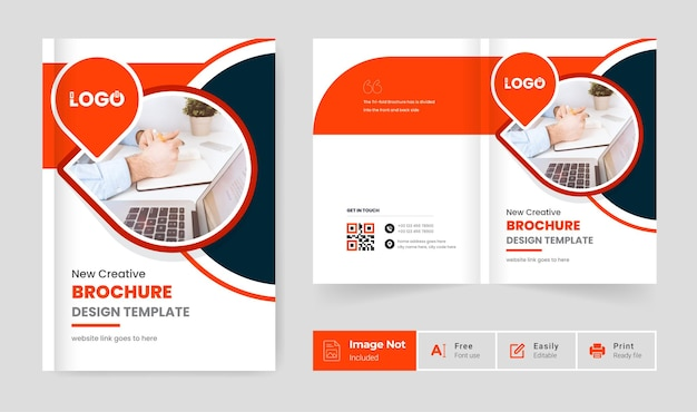 Orange color modern business brochure design template theme company profile cover page presentation
