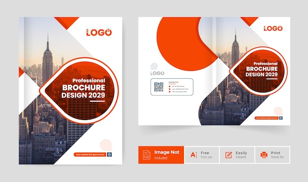 Orange color modern pages brochure cover page design template abstract creative bi fold page layout