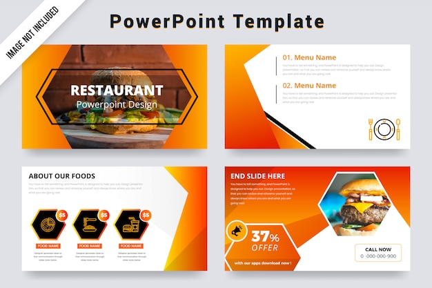 Orange color restaurant powerpoint presentation slides with photo