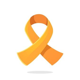 Оранжевый цвет ленты международный символ лейкемии или вектора осведомленности рассеянного склероза