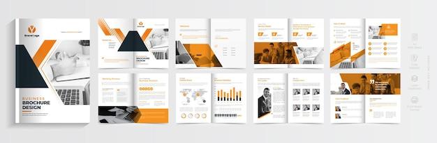 Дизайн макета брошюры компании оранжевого цвета