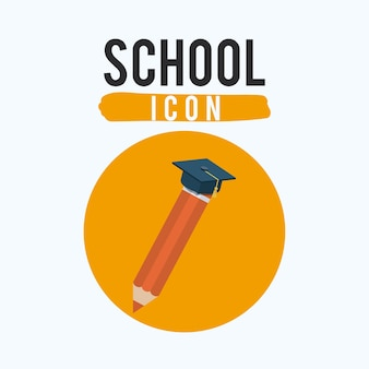 Orange color tool and graduation cap icon