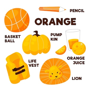 Orange color and vocabulary set in english