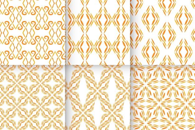 オレンジ色の抽象的な装飾パターンセット