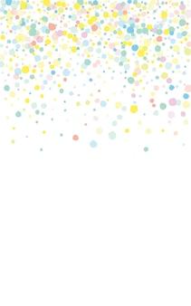 Orange confetti independence white background. top polka invitation. festival circle backdrop. pastel dust carnaval illustration.