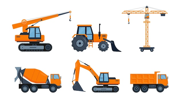 Orange construction heavy machinery  for building work