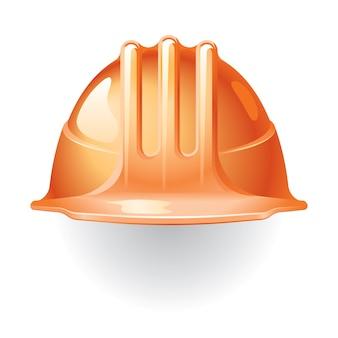 오렌지 건설 헬멧 흰색 절연