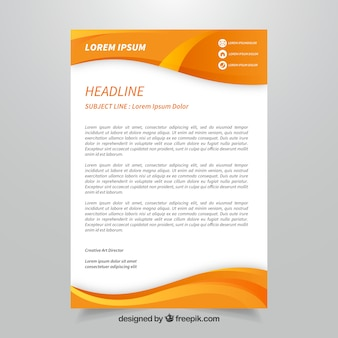 Orange corporate brochure with abstract shapes