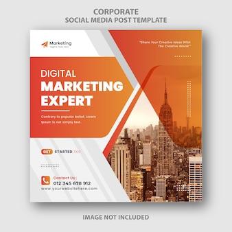 Orange corporate digital marketing instagram social media ad banner design template