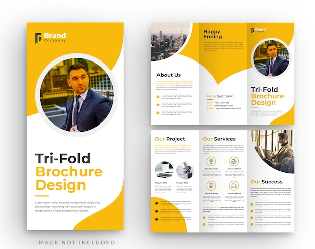 Orange corporate tri-fold brochure template design