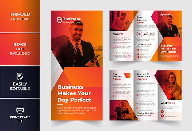 オレンジ色の創造的な抽象的な色企業ビジネス3つ折りパンフレットのデザインテンプレート