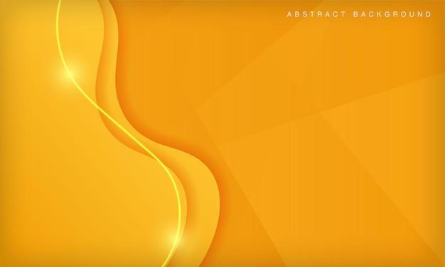 밝은 빛 장식으로 오렌지 곡선 종이 컷 추상 최소한의 기하학적 배경