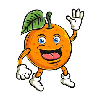 Orange cute fruit cartoon character