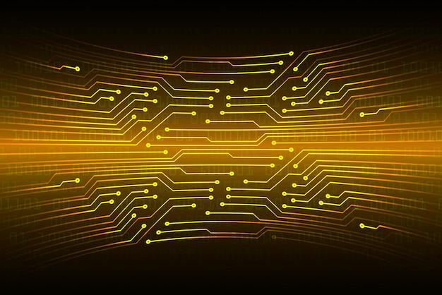 オレンジ色のサイバー回路将来の技術コンセプトの背景