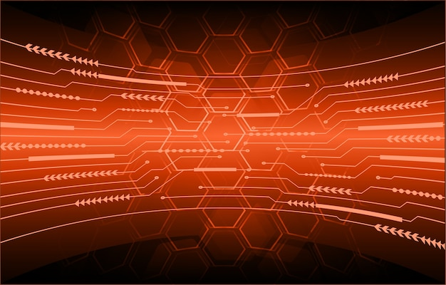 Orange cyber circuit future technology concept background