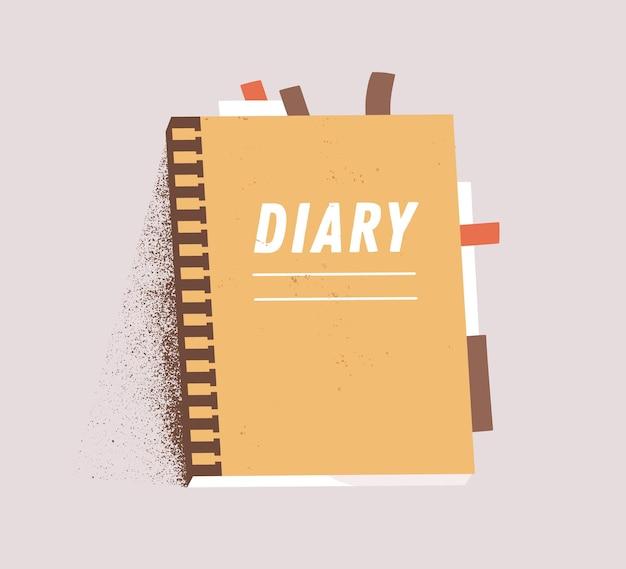 Оранжевый ежедневный бумажный блокнот, изолированные на белом фоне. мультфильм личный дневник планировщик вектор плоской иллюстрации. красочный журнал страницы организатора с наклейкой и закладкой.