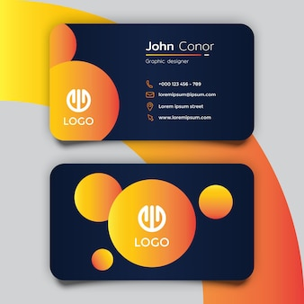 Orange and dark blue modern business card template design