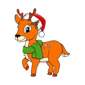 Orange deer. cute character. colorful vector illustration.