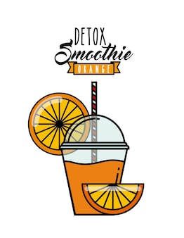 Orange detox icon. smoothie and juice design. vector graphic