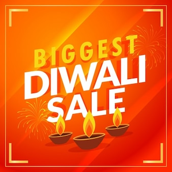 Orange discount voucher with three candles for diwali