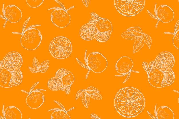 Orange doodle seamless pattern