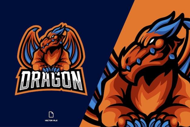 翼のマスコットのロゴとオレンジ色のドラゴン