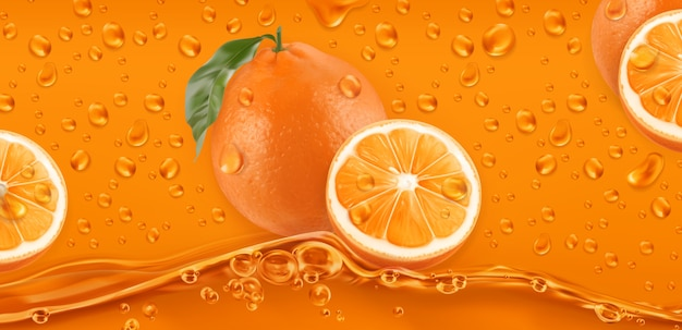 Orange drops. fresh fruit background.