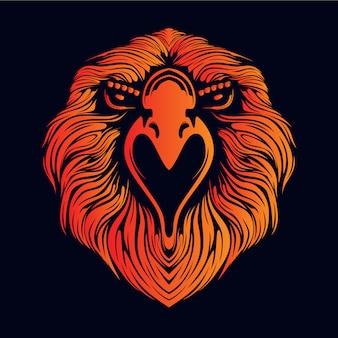 Orange eagle head illustration