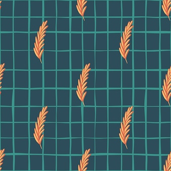 Orange ear of wheat print seamless agriculture print. navy blue chequered background. simple style. perfect for fabric design, textile print, wrapping, cover. vector illustration.
