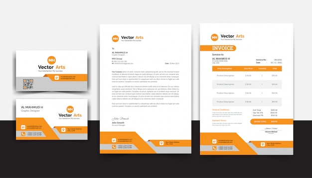 Orange elegant brand identity stationary