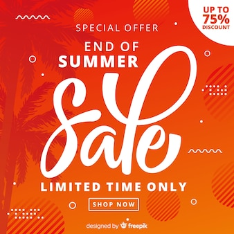Orange end of summer sales background