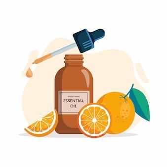 ガラス瓶のオレンジエッセンシャルオイルと白い背景で隔離の新鮮なオレンジ