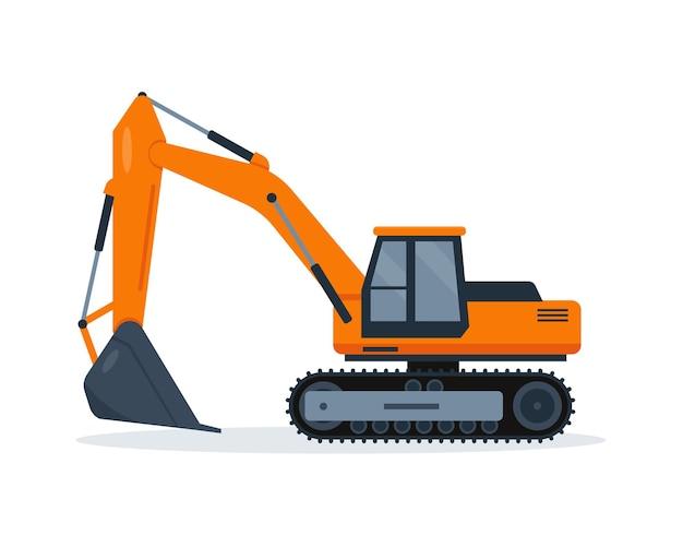 白い背景に分離されたオレンジ色の掘削機。建設機械。