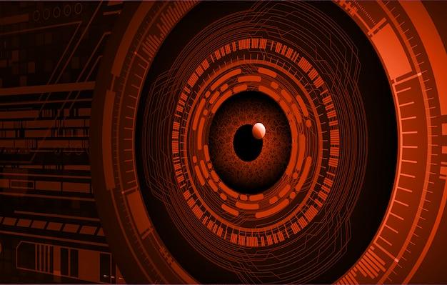 Orange eye cyber circuit future technology concept background